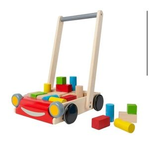Plan Toys Wooden Baby Walker With Wood Blocks